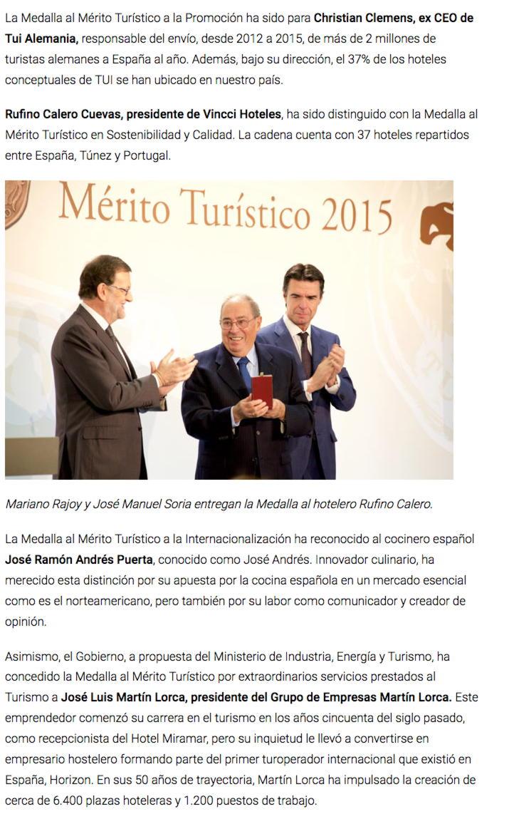 Rajoy entrega las Medallas y Placas al Mérito Turístico