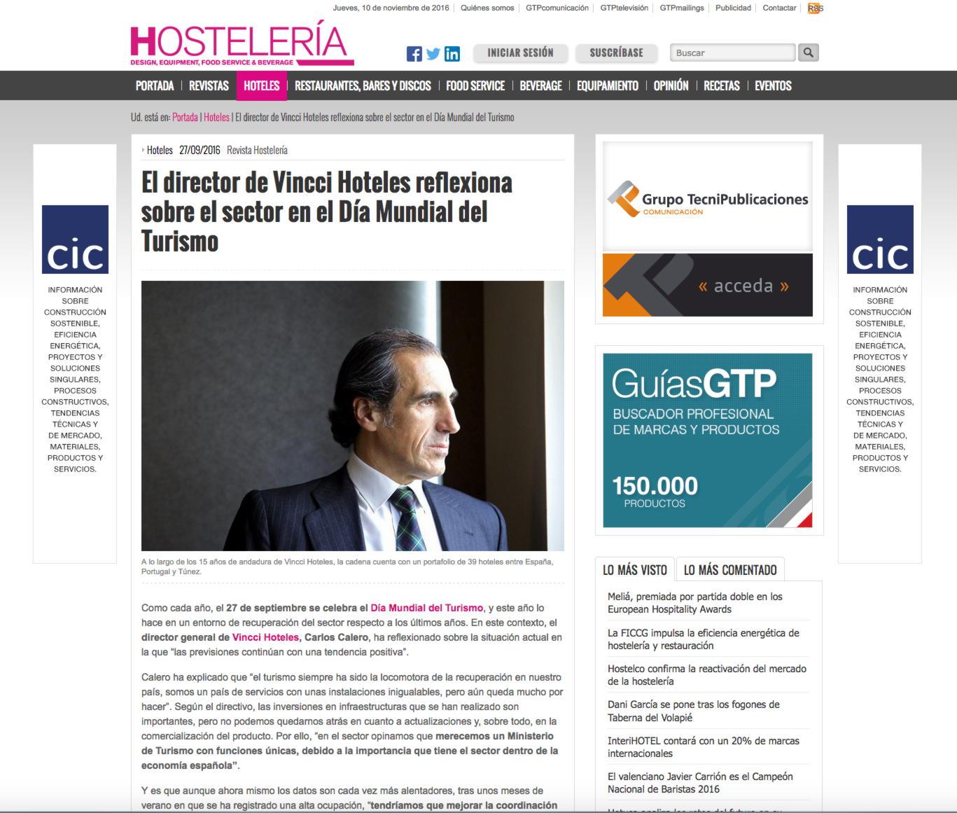 El director de Vincci Hoteles reflexiona sobre el sector en el Día Mundial del Turismo